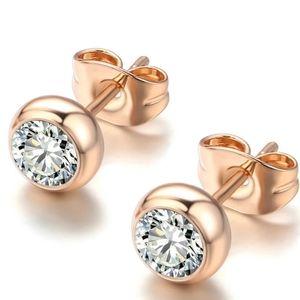 1 CT Round Bezel Diamond Rose Gold Pierce Earrings